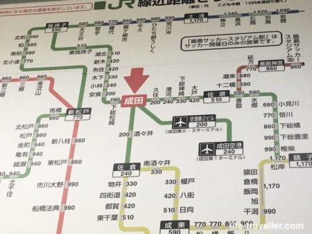 成田駅の路線図