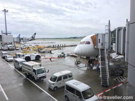 シンガポール航空で到着後の飛行機